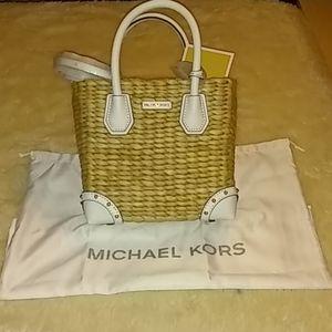 Michael Kors 'Malibu' Woven Straw Crossbody Bag